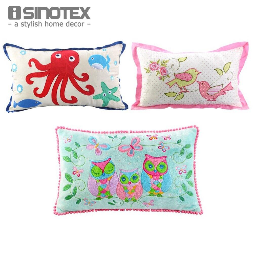 1pcs Cushion 30cm X 50cm Cartoon Embroidered Applique Decorative Throw Pillowcase Home Decor For Safa Car Bed