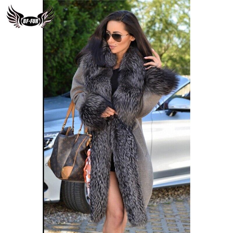 BFFUR Réel De Fourrure Parka Chaud Plus La Taille Tout Peau Populaire de Long Manteau Femmes Avec Fox Col De Fourrure Solide Femmes veste Avec Fourrure Naturelle