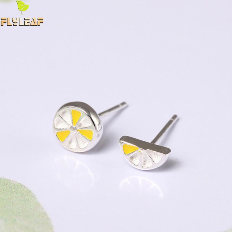 Flyleaf 100% Sterling Silver Lemon Asymmetry Stud Earrings For Women Creative Lady Fashion Fruit Jewelery
