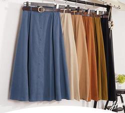 Осенне-зимняя замшевая бархатная женская юбка женская миди Длинная элегантная юбка империя А-силуэта плиссированная юбка
