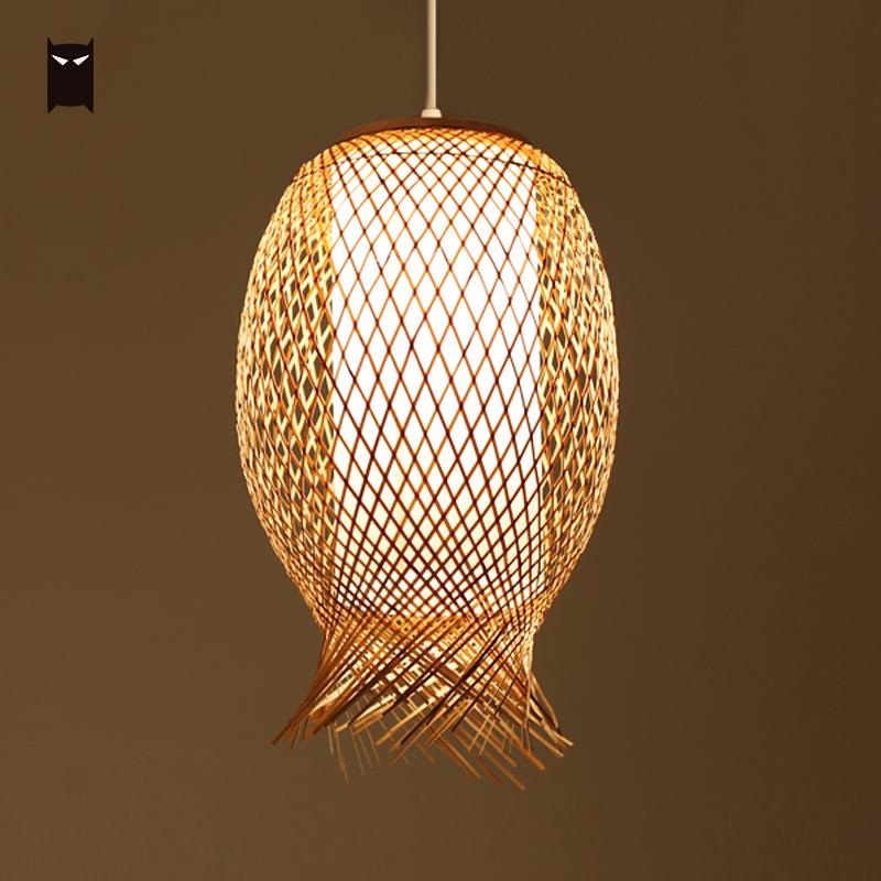 Bamboo Wicker Rattan Shade Pendant Light Fixture Japanese Asian Nordic Hanging Ceiling Lamp Luminaria for Dining Table Room E27