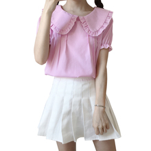 цена на Lolita Japanese Style Summer Women Shirt Pink Blue Striped Peter Pan Collar Short Sleeve Blouse Back Buttons Blouses and Tops