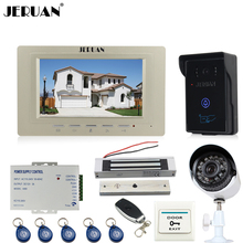 "JERUAN 7"" Video door Phone Entry intercom System kit waterproof RFID Access Camera + 700TVL Analog Camera + 180KG Magnetic lock"