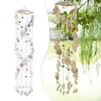 Естественные ракушки колокольчика ветра висячие украшения изысканный Seashell ветряные колокольчики ремесла украшения дома сада 4
