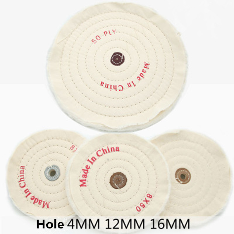 50-300mm White Cotton Lint Cloth Buffing Wheel Gold Silver Jewelry Mirror Polishing Wheel 50 Layers