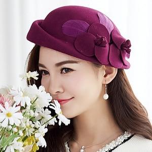 Image 3 - 2018 Autumn and Winter Lady Party Formal 100% Wool Felt Hats Women Flower Woolen Beret Caps