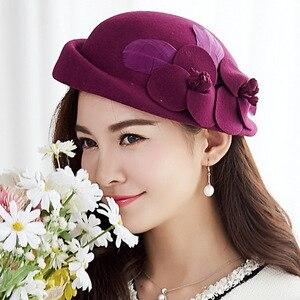 Image 3 - Chapeaux en laine pour femmes, bonnet en feutre, à fleurs, 2018, pour fête formelle, automne et hiver, 100%