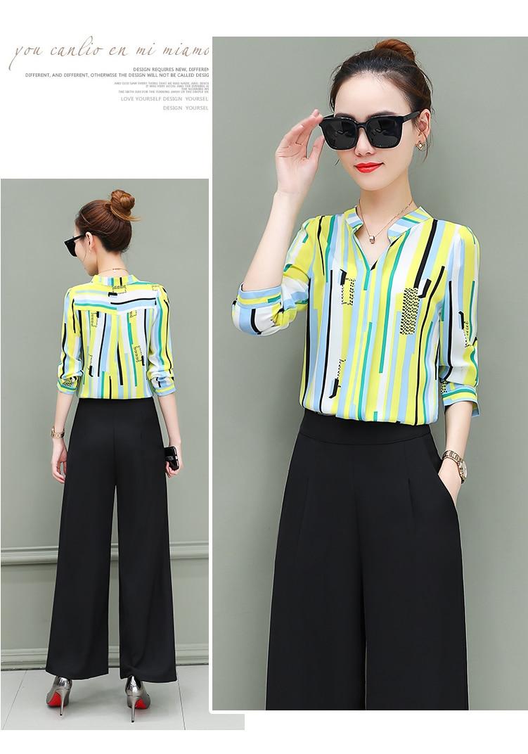 New OL suits 2018 summer Korean fashion stripe chiffon blouse top & wide-legged pants two pcs clothing set lady outfit S-4XL 14
