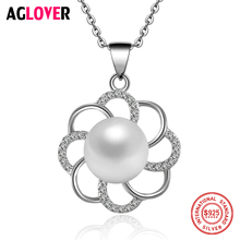 Flowers 925 Silver Women Necklace Fashion Charm Jewelry Round 10mm Pearl Pendant 100% Sterling Silver Necklace цена
