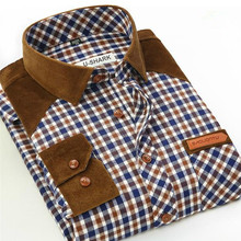2017 Hot Spring Autumn new men's plaid Long sleeves shirts cotton casual slim patchwork polished male shirt large size S-4XL