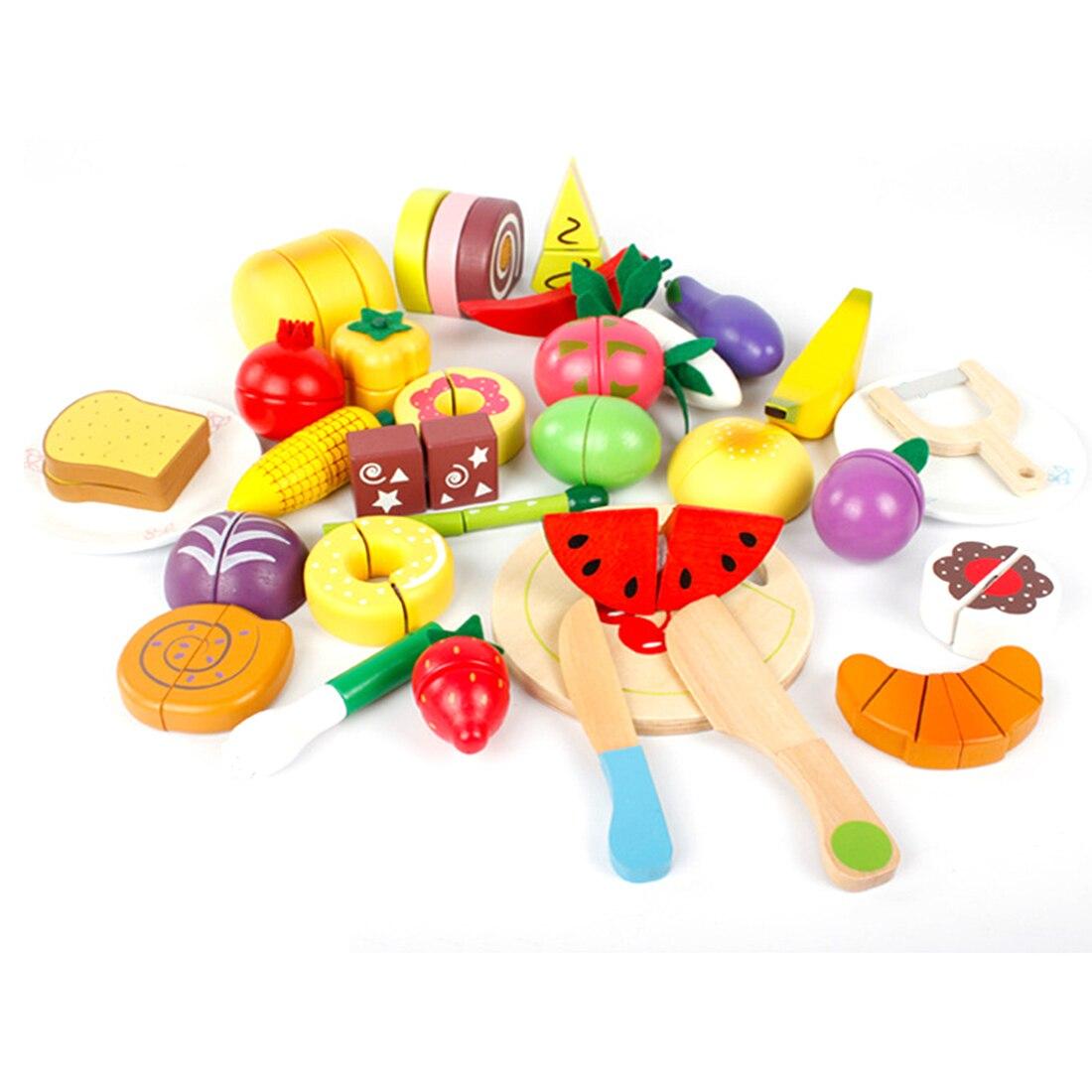 Haute qualité 32 pièces bébé en bois cuisine jouets coupe fruits gâteau alimentaire éducation jouets pour enfants fille pour enfants d'âge préscolaire enfants cadeaux