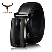 COWATHER 2017 Men Cow Genuine Leather Belts For Men High Quality Brown Black Ratchet Automatic Belt