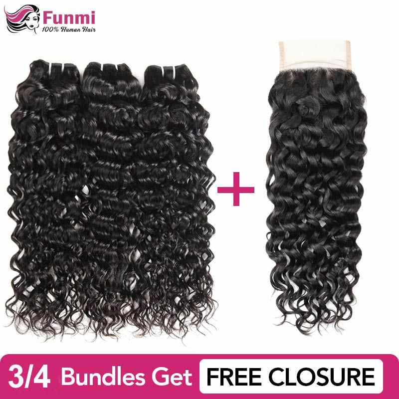 Buy Water Wave Bundles Get Free Closure Raw Indian Hair Bundles Unprocessed Human Hair Bundles Funmi Virgin Hair Extensions