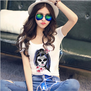 Sexy Crop Top T Shirt Women 2019 New Short Sleeve O-Neck T-Shirt Harajuku Flower Skulls Plus Size Gothic Tee Shirt Femme Clothes