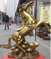 Bronze home decoration Brass 15 Brass exquisite craftwork Yuan Bao Money Run riot leap war horse statuary Bronze Statue
