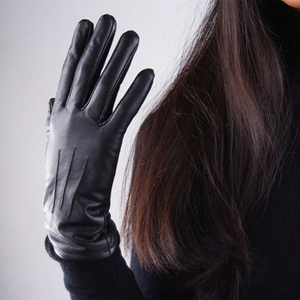 Image 3 - Genuine Leather Pure Sheepskin Gloves Female Black Medium And Long Section Basic Woman Plush Lined Keep Warm Mittens TB13