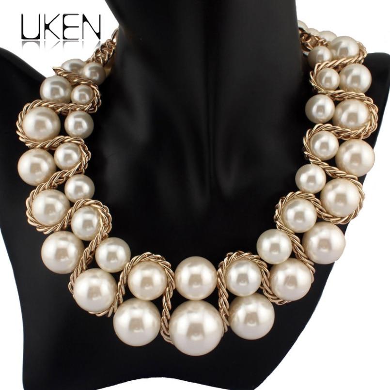 UKEN Imitation Pearl Necklace Fashion Golden Chain Cross Big Size Beads Collar Choker Statement Jewelry For Women Dress N1220