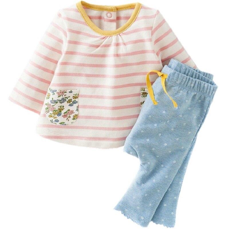 87d8c0f4954ea 1-6 años Cartoon Girl set otoño algodón de manga larga Rosa raya punto azul  + Pant niños Set KF073