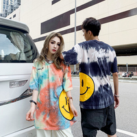 Summer Tide Brand Couple Loose Tie Dyed Gradient Smiley Short sleeved T shirt Male Ins Super Popular T Shirt Women