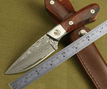 Damascus Straight Hunting Knife Fixed Damascus Steel Blade Tactical Camping Knives Outdoor Survival Tool With Coco Wood Handle
