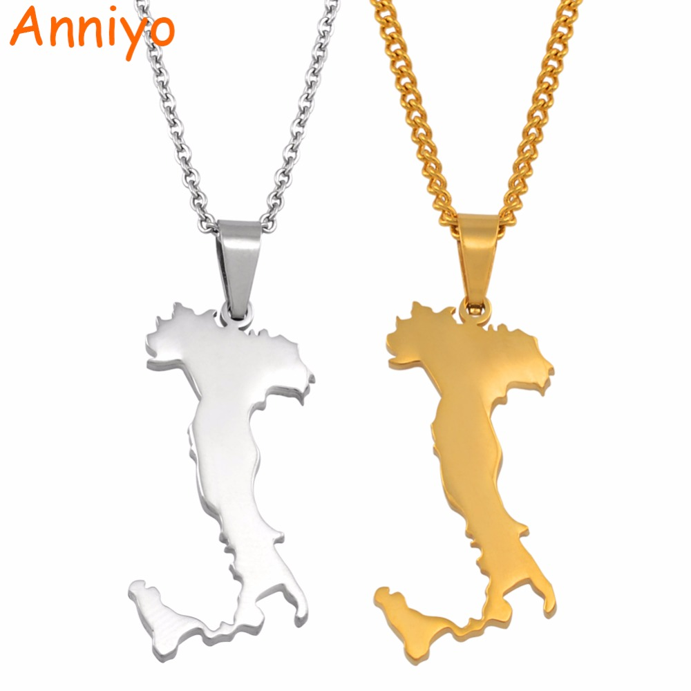 Anniyo Italy Map Pendant Necklaces Silver Color/Gold Color Stainless Steel Italian Maps Jewelry Gifts #049621Anniyo Italy Map Pendant Necklaces Silver Color/Gold Color Stainless Steel Italian Maps Jewelry Gifts #049621