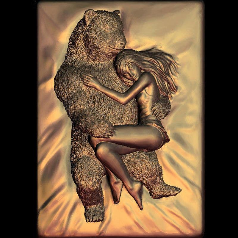 Красота и Медведь 3d модель STL рельеф для cnc STL формат женщина и Медведь 3d рельеф модель STL маршрутизатор 3 оси гравер ArtCam