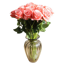 Artificial Rose Flowers Single Flower For Bridal Hand Bouquets Wedding Christmas  Decoration Household Flowers Wall Background artificial hand made flowers