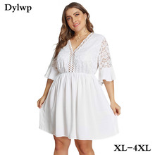 XL-4XL Big Size Lace Half sleeve Dress Women Casual Solid White Beach 2019 Summer Sexy V-neck Hollow Out Mini Dresses