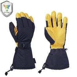 Ozero nuevos hombres guantes de soldadura guantes de trabajo de cuero genuino resistente al desgaste nylon TPU impermeable guantes 9008