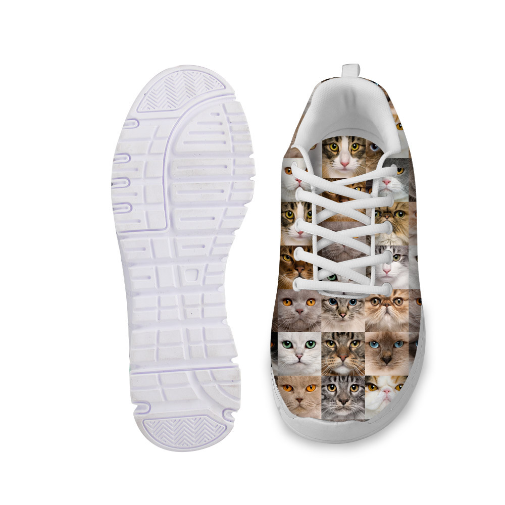 NOISYDESIGNS Fashion Women Autumn Casual Flat Shoes Novelty Custom Animal Cats Puzzle Printed Lace up flat for Lady Comfortable in Women 39 s Flats from Shoes