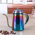 650 ml de cuello de Cisne Pico Caldera Café Verter Sobre Drinkware Tetera con Tapa de Acero Inoxidable Espesar Revestimiento De Teflón No SE OXIDA
