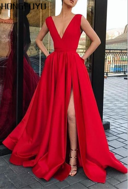 Charming Red Satin V Neck A Line Sleeveless Long   Prom     Dresses   2019 Floor Length Side Slit With Pockets   Prom     Dress   HFY30101