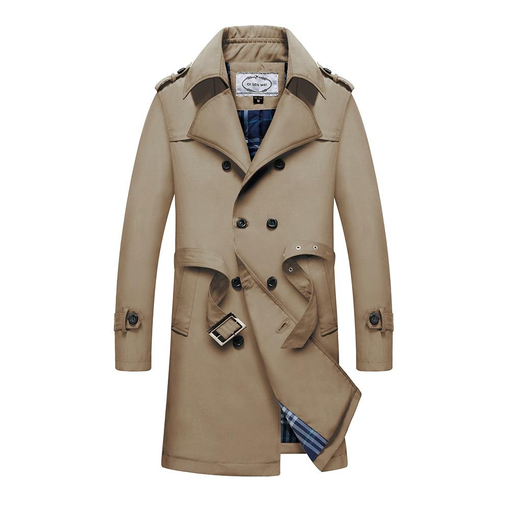 TAIZIQI Longue tranchée manteau hommes épaissir outwear hommes longs manteaux coupe vent décontracté veste manteau chaud pour hommes