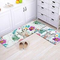 50X80+50X120CM/Set Painted Rabbit Kitchen Mat Anti Slip Bathroom Carpet Home Hallway Doormat Children Bedroom Area Rug