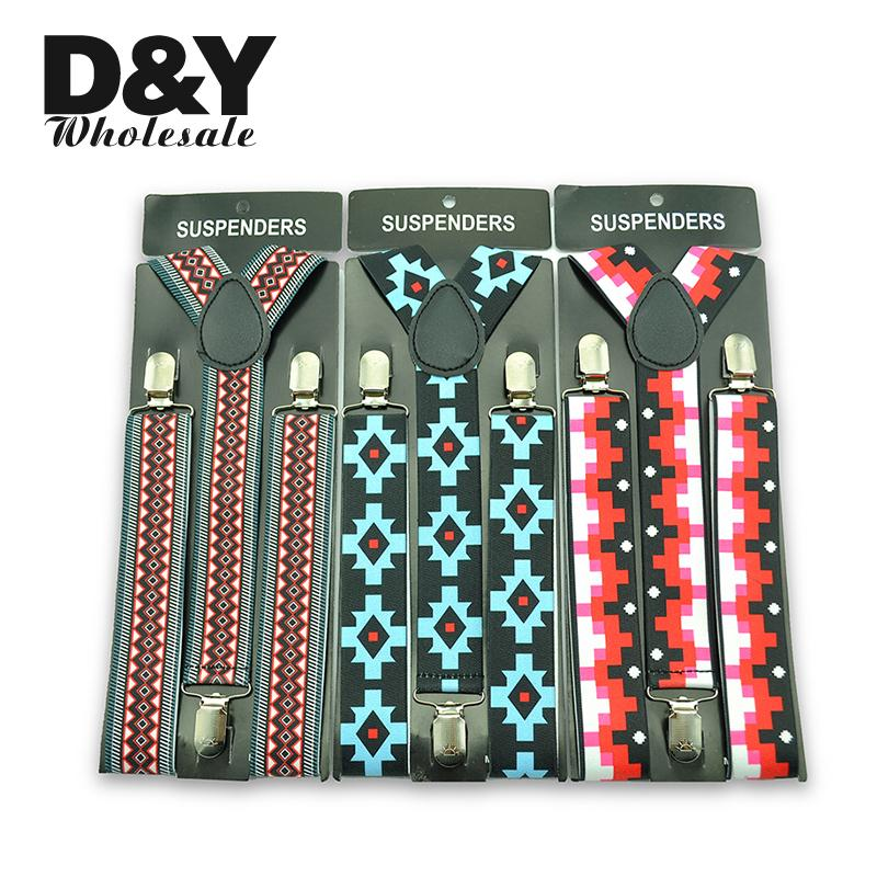 New Arrive Folk Style  Geometric Plaid Pattern 3 Colors Available Adjustable Women Men Suspenders Braces Free Shipping