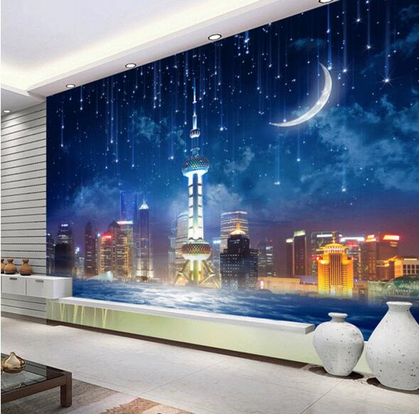 Kids Bedroom At Night night star landscape large mural photo wallpaper 3d kids bedroom