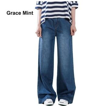 S-4XL Plus Size Loose Jeans Women Casual Jeans Summer Autumn Thin Denim Trousers Straight Wide Leg Jeans zipper fly plus size cat s whisker design straight leg jeans