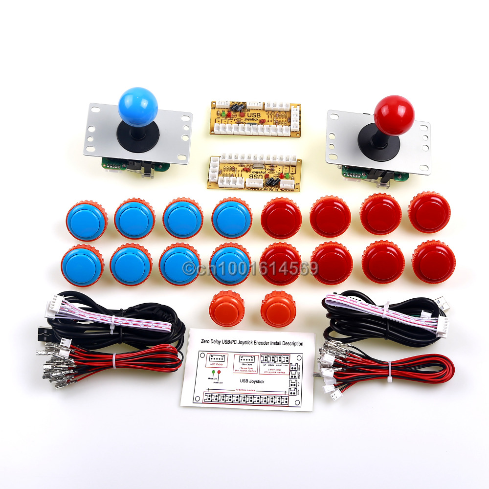 Arcade Machine DIY Kits Bundle 18 x Sanwa Button OBSN-30 / OBSN-24 + Arcade Fight Joystick + PC Game Encoder Board For Windows x 360 to arcade machine time board game kit for lcd arcade machine play for time x 360 s usb to jamma joystick and button