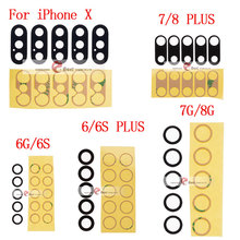 10sets/lot Back Camera Glass Lens for iPhone 6 6S 7 7G 7+ 8 Plus Rear Cam Cover with 3M Sticker Adhesive Replacement Parts