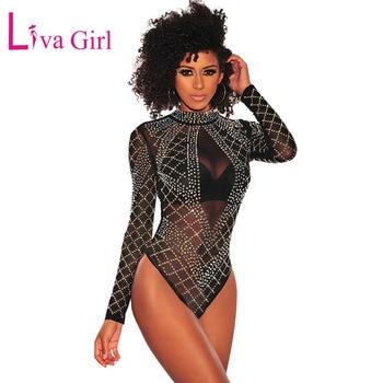 LIVA GIRL Black Mesh Long Sleeve Bodysuit for Women Sexy Sheer Rhinestone Studded Bodycon Jumpsuits Spring Autumn Club Body Tops 1