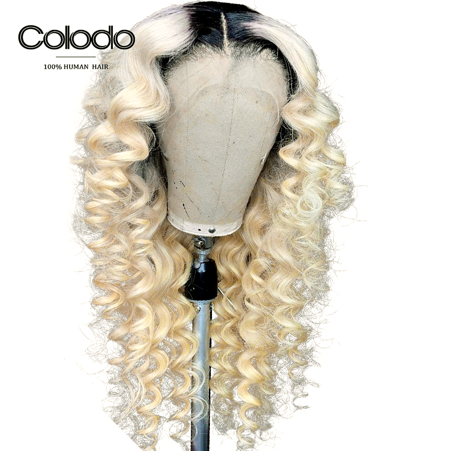 COLODO Preplucked 613 Lace Front Wig Glueless Ombre Curly Human Hair Wig With Baby Hair Full