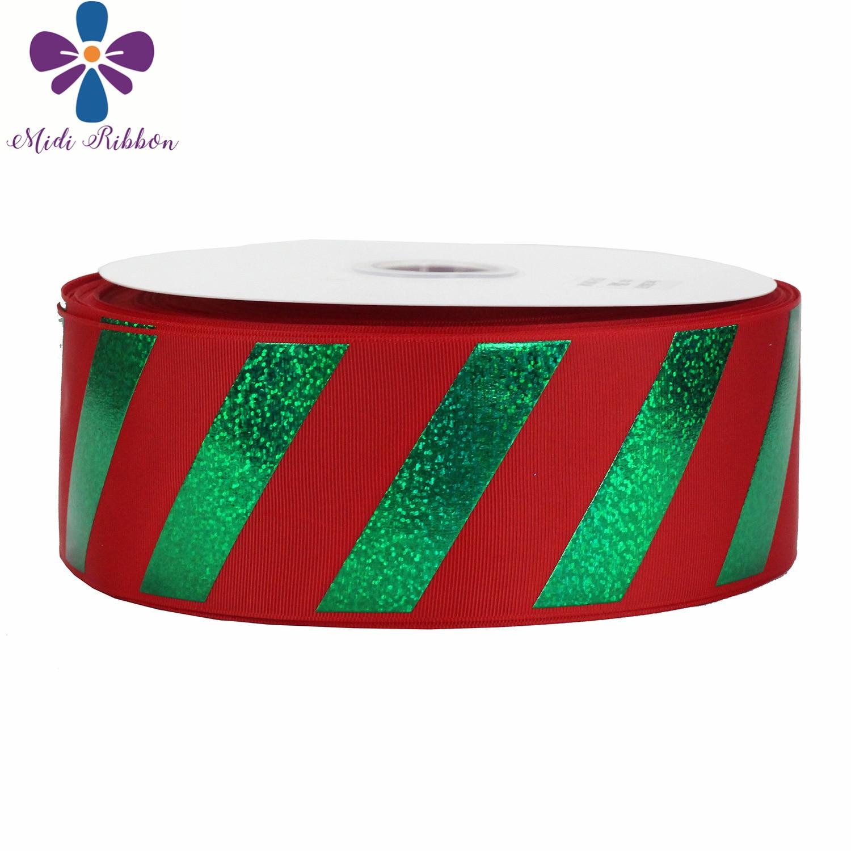 """3 """"75mm rayas verdes holograma lámina impresa cinta de grogrén rojo DIY decoración de fiesta de Navidad 50 yardas/rollo pelo Bowknots-in Cintas from Hogar y Mascotas    1"""