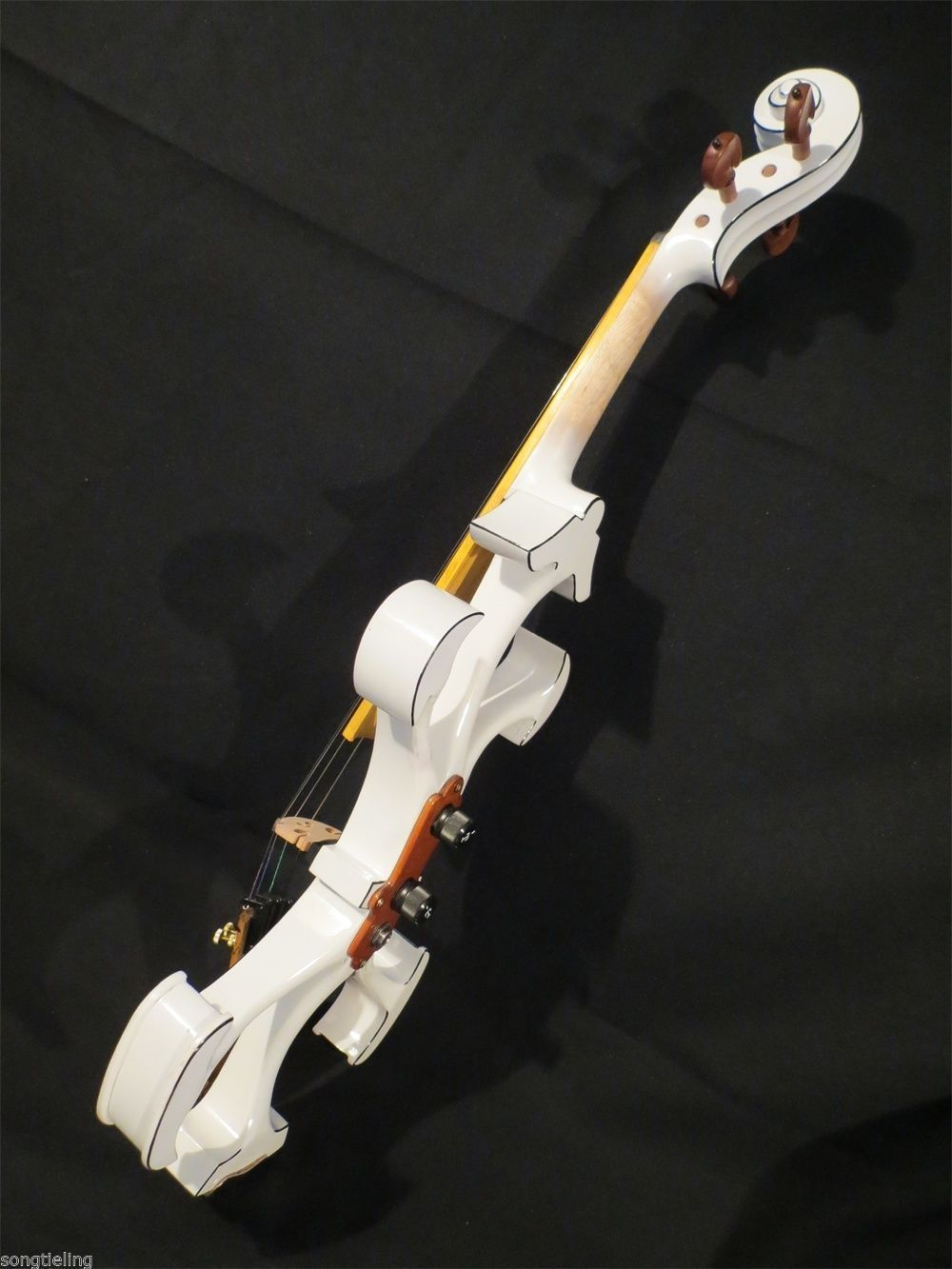 Handmade Brand New White Great Streamline Model 4/4 Electric Violin/Violino Solid Wood String Instrument Rosin Case Bow Included image
