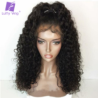 Luffy Curly Non Remy Brazilian Human Hair Glueless Full Lace Wigs Pre Plucked Hairline For Black