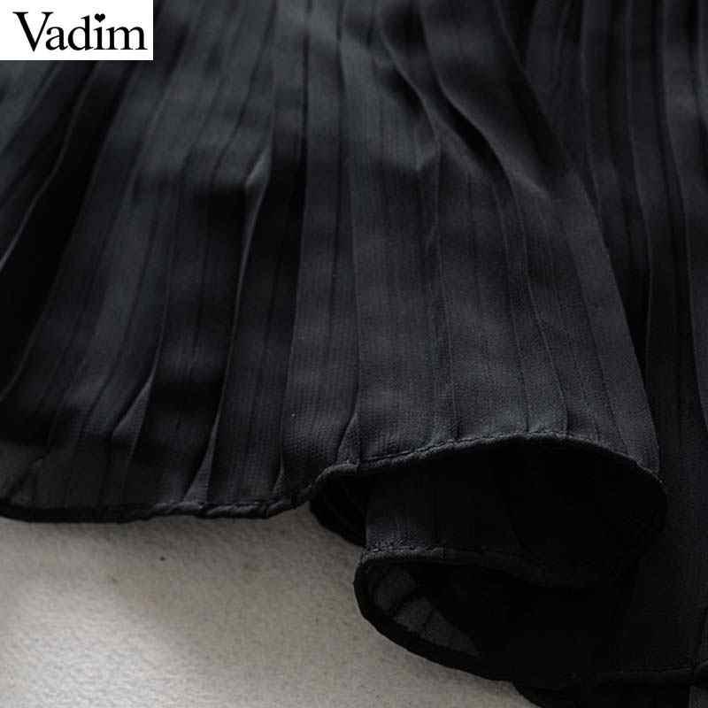 Вадим женские пикантные однотонные черный квадрат воротник patckwork спинки мини-платье рукавов плиссированные оборками Женские вечернее платье QB760