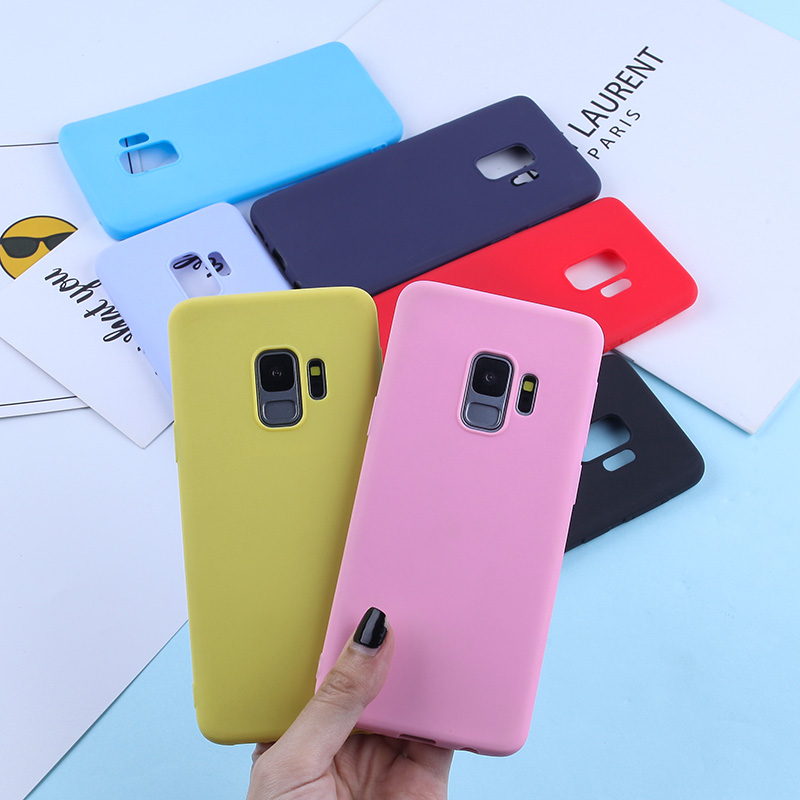Candy Color TPU Case For Samsung Galaxy J3 J5 J7 2016 2017 Pro Soft Silicone Case For Samsung J4 J6 2018 Matte Back Cover Capa in Fitted Cases from Cellphones Telecommunications