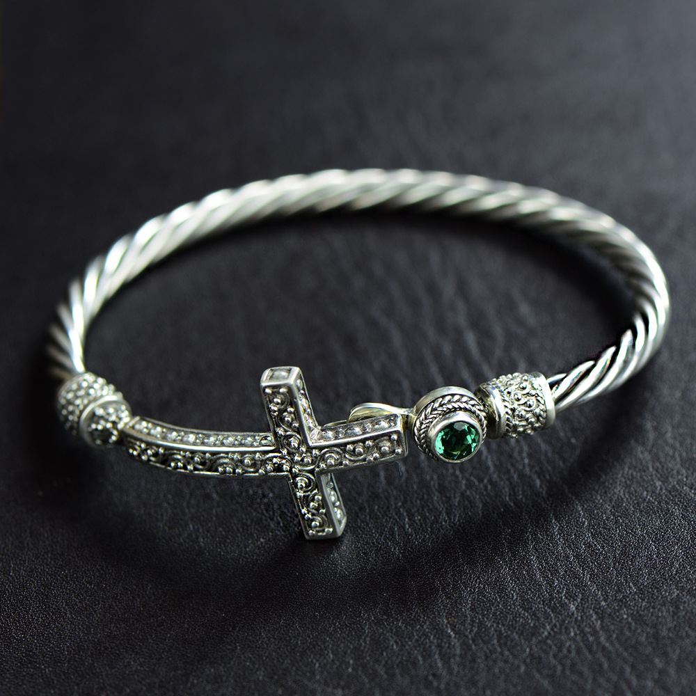 Baroque Real 925 Sterling Silver Cross Bangle Bracelet For Women Men Punk Fashion Green Crystal Inlay Bangle Fine Jewelry 2019Baroque Real 925 Sterling Silver Cross Bangle Bracelet For Women Men Punk Fashion Green Crystal Inlay Bangle Fine Jewelry 2019