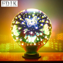 E27 3D Decoration Bulb 4W Dazzle color Vintage LED Edison bulbs A60 G95 G125 Holiday Lights Fireworks Starry sky Snowflake Lamp 3d fireworks retro edison bulb 4w e27 g125 led light home bar decor lighting colorful glass globe lamp 420lm ac85 265v