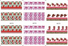 3 SHEETS / LOT Nail Art Water Transfers Stickers Nail Decals Stickers COW BOY CAP BOOTS BOW TIE FLOWER ROSE A073-075(China)