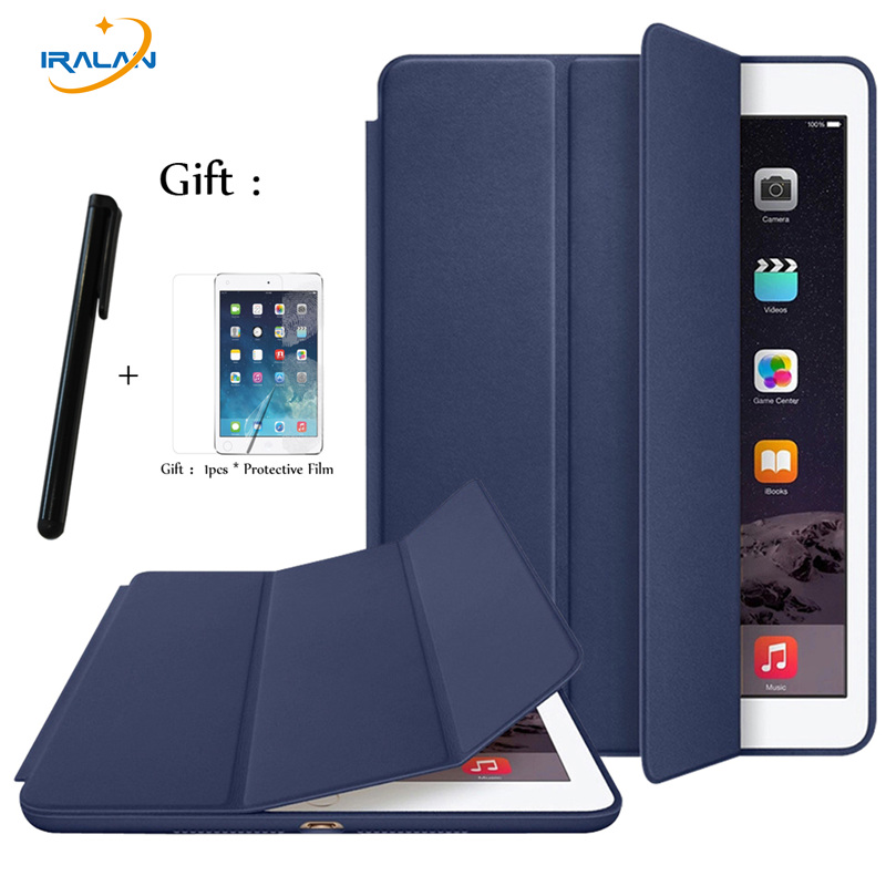 Case For Ipad 2 3 4 9.7 Inch PU Leather Official Original 1:1 PC Back Ultra Slim Tri-Fold Smart Cover For Ipad 234+Stylus+Film